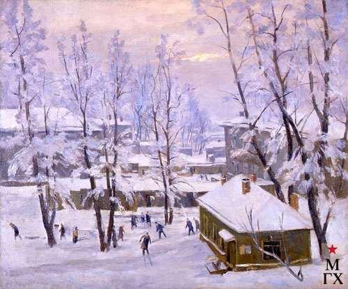 А.Нюренберг. Зима на Масловке с коньками. 1950. Х.М. 50х60.