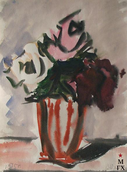 В.А. Орехова. Розы в полосатой вазе. 1975. Акварель.