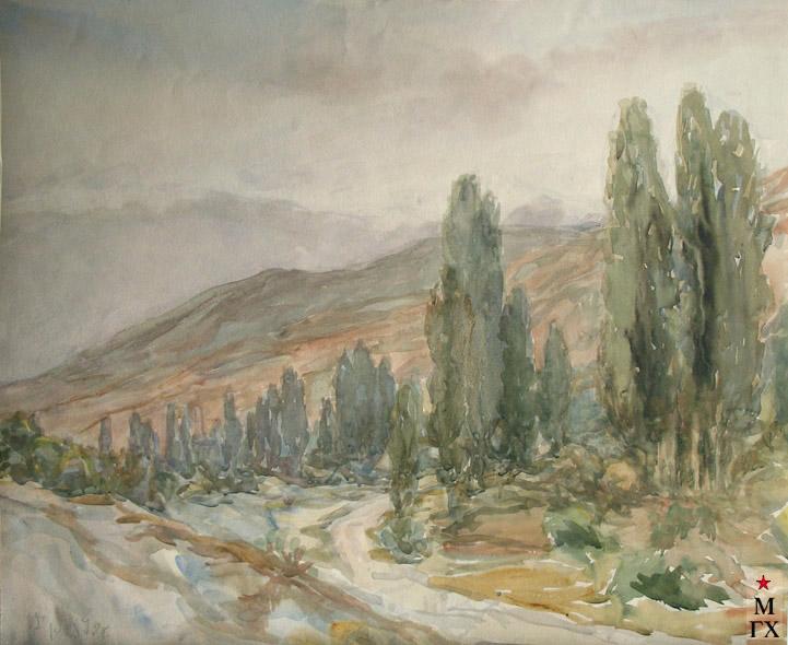 В.А. Орехова. Южный пейзаж. 1979. Акварель.
