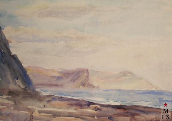 В.А. Орехова. Морской пейзаж. Акварель.