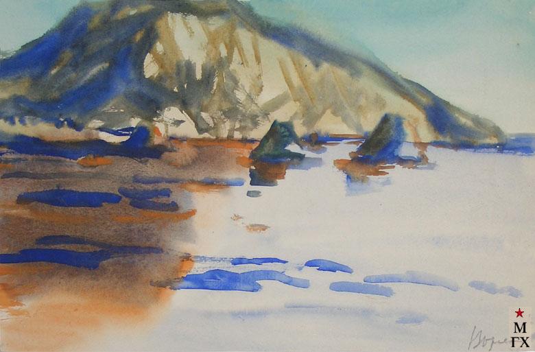 В.А. Орехова. Синие скалы. Акварель.