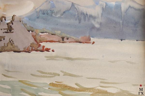 В.А. Орехова. Скалистый берег. Акварель.