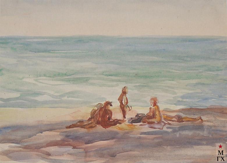 В.А. Орехова. На пляже. Акварель.