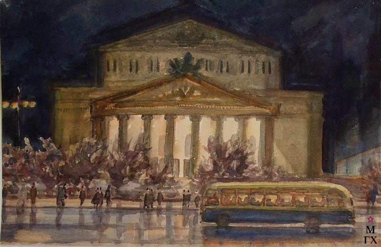 В.А. Орехова. Большой театр. Акварель.