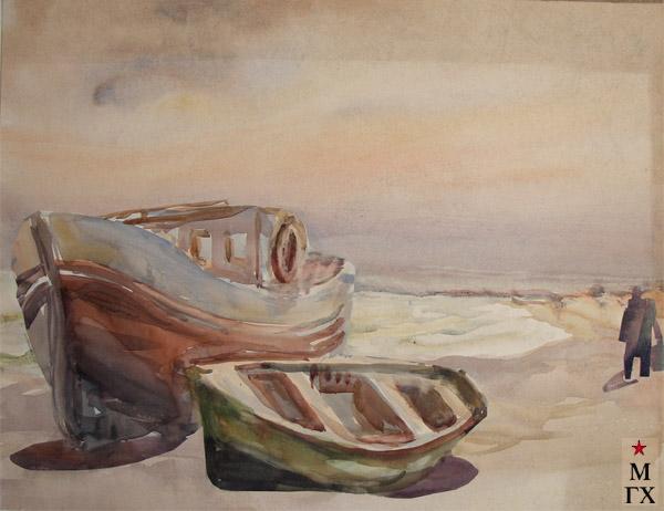В.А. Орехова. Рыбацкие лодки. Акварель.