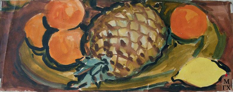 В.А. Орехова. Натюрморт с ананасом. Акварель.