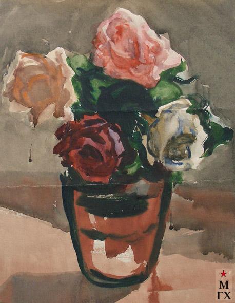 В.А. Орехова. Натюрморт с розами. Акварель.