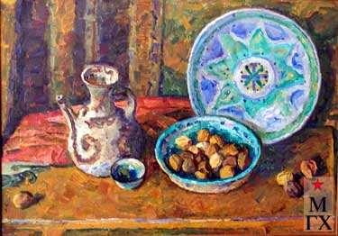 А.С.Папикян. Натюрморт с голубой тарелкой