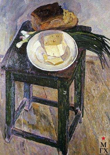 А.С.Папикян. Натюрморт с сыром и луком. 1968