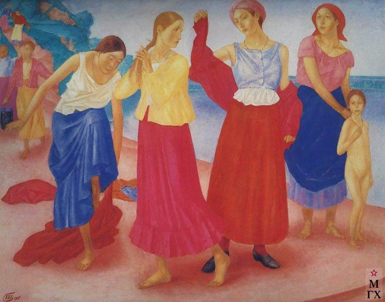 Петров-Водкин К. Девушки на Волге. 1915. Х.М.  96x120. ГТГ, Москва