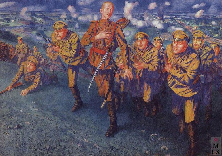 Петров-Водкин К. На линии огня. 1916. Х.М. 196x275. ГРМ, Санкт-Петербург