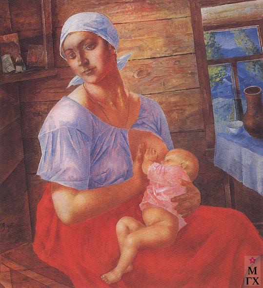 Петров-Водкин К. Мать. 1915. Х.М. 107x98.5. ГРМ., Санкт-Петербург