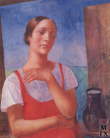Петров-Водкин К. Девушка в сарафане. 1928. Х.М.81x64.8. ГРМ, Санкт-Петербург