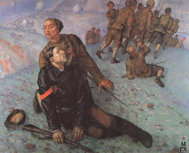 Петров-Водкин К. Смерть комиссара. 1928. Х.М. 196x248. ГРМ, Санкт-Петербург