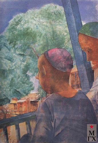 Петров-Водкин К. Самарканд. На террасе. 1921. Х.М.  43.5x22.5