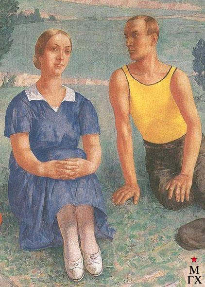 Петров-Водкин К. Весна (фрагмент). 1935. Х.М. 185x156.5. ГРМ, Санкт-Петербург