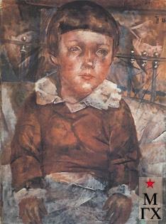 Петров-Водкин К. Ленушка в кровати. 1926. Х.М. 73.5x53. ГРМ, Санкт-Петербург