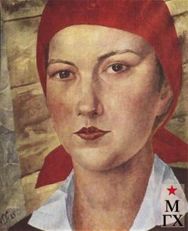 Петров-Водкин К. Девушка в красном платке (Работница). 1925. Х.М. 61x50.