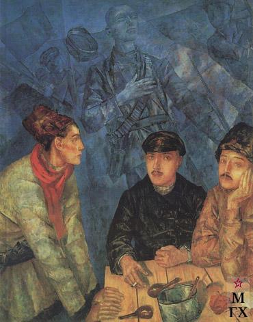 Петров-Водкин К. После боя. 1923. Х.М. 154x121.5. ЦМВС, Москва