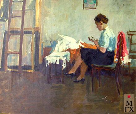 В.В. Почиталов. В комнате. 1948. Х.М. 51Х61