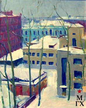 В.В. Почиталов. Из окна. Городской мотив. 1945. К.М. 43Х34