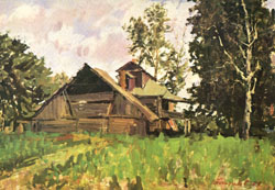 В.В. Почиталов. Село Никулино. Истра. 1955. Х.К.М. 49.5Х71.
