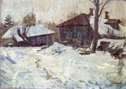 В.В. Почиталов. Рюмниково. Весна. 1968. К.М. 49.5Х69.5.