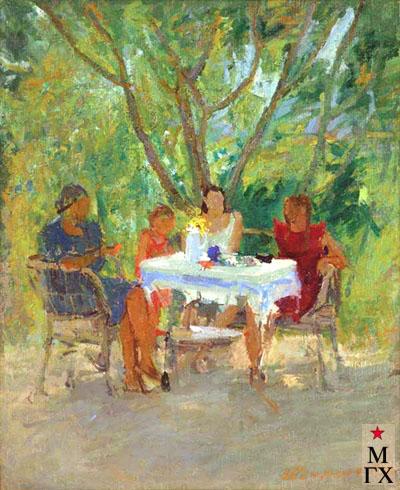 В.В. Почиталов. В саду за столом. 1940. Х.М. 60х50