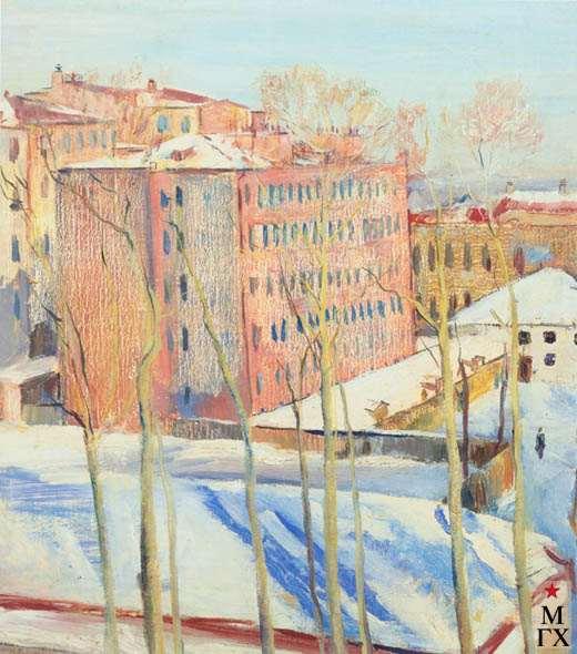 В.В. Почиталов. Розовый домик. 1933. Х.М. 63х56.