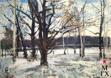 В.В. Почиталов. Первый снег. 1968. К.М. 49Х69.5