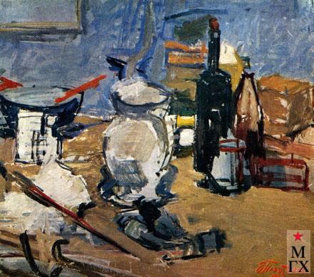 В.В. Почиталов. Натюрморт с черной бутылкой. 1946.