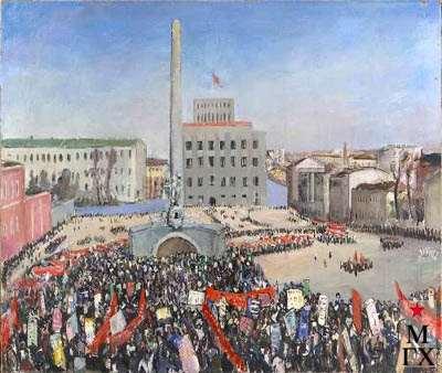 В.В. Почиталов. Демонстрация на площади Моссовета. Эскиз. 1931. Х.М. 112x132.