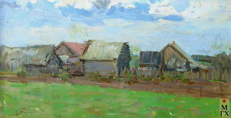 В.В. Почиталов. Село Никулино. Избы. 1961. Х.М. 33Х61.
