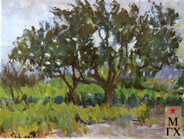 В.В. Почиталов. Козы. Миндальные деревья. 1939. Х.М. 61Х80
