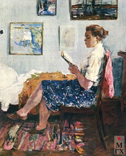 В.В. Почиталов. За чтением. 1948. Х.М. 46.6х36