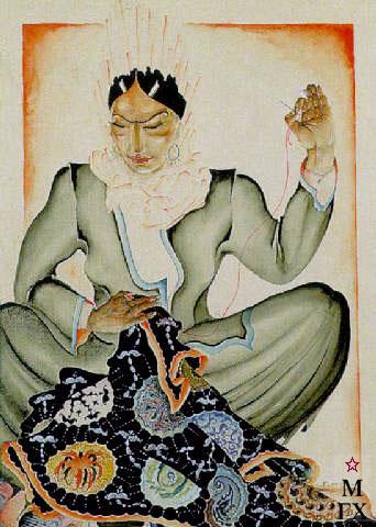 А. Ф. Подковыров. Картина : Узбекская ковровщица. 1927. Акв., Гуашь, Кар. 43x31