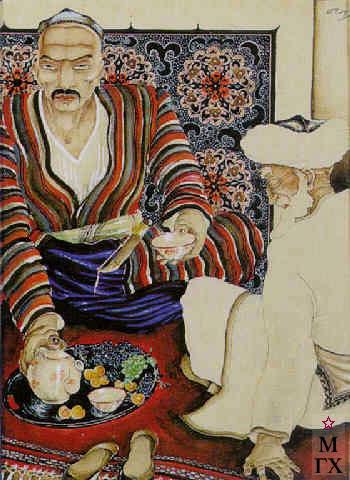 А. Ф. Подковыров. Картина : Чаепитие старых узбеков. 1927. Акв., Гуашь, Кар. 43x31