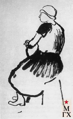 Поляков И. А. Натурщица Станислава Осипович. Конец 1920-х. Бум.Тушь. 41х30.
