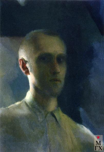 Поманский А. А. Автопортрет с красным ухом. 1926-1929. Х.н.К.М. 59.5х39.5. Нукус.