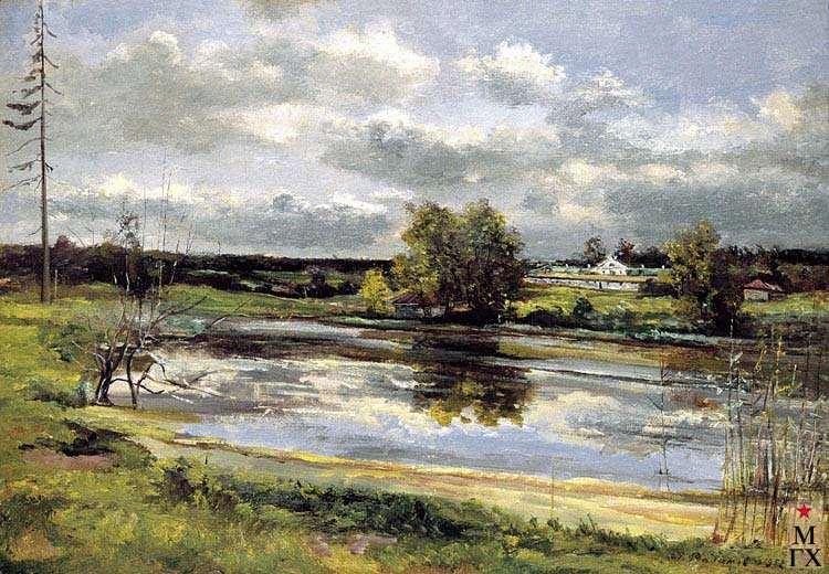 Весенний пейзаж с рекой 1960 е