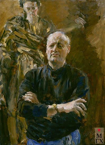 Радоман И. В. Народный художник СССР, скульптор Вл. Е. Цигаль. 1977. Х.М. 110х80.