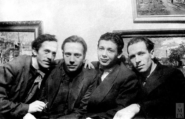 М. Шац, Н. Фадейкин, И. Радоман, В. Поляков. 1940-е гг.