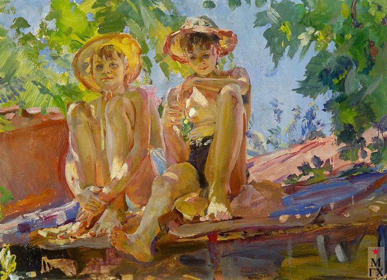 Радоман И. В. Дети на крыше, 1963, К.М. 50х70