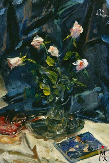 Радоман И. В. Розы на синем фоне. 1991. Х.М. 70х50.
