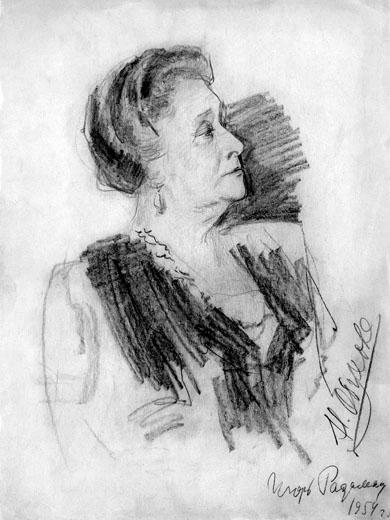 Радоман И. В. Портрет Надежды Обуховой. 1954. Бум.Кар. 38х28.