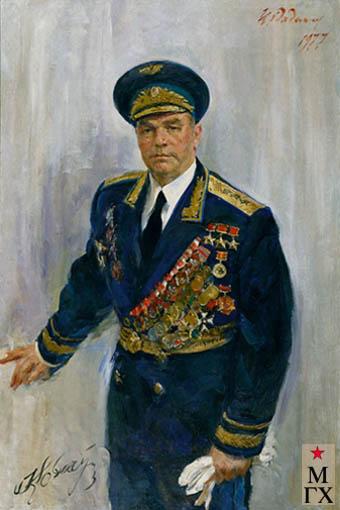 Радоман И. В. Трижды Герой Советского Союза, генерал-полковник авиации И. Н. Кожедуб. 1977. Х.М. 150х100.