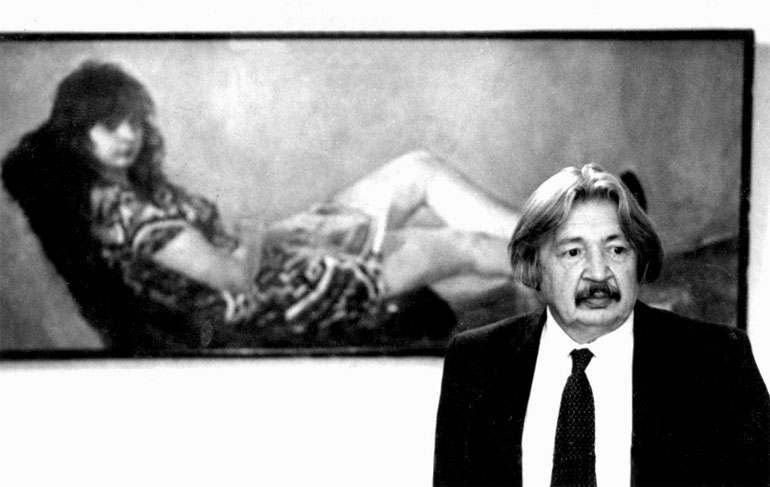 И. В. Радоман у портрета дочери Ирины. 1985 г.