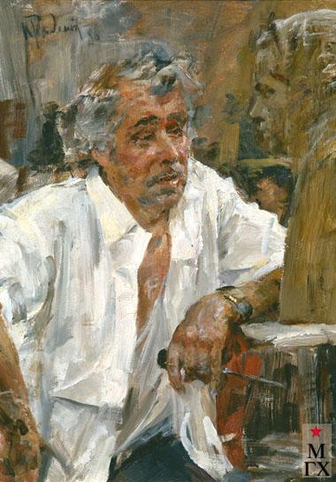 Радоман И. В. Скульптор М. И. Ласточкин в мастерской. 1986. Х.М. 70х50.