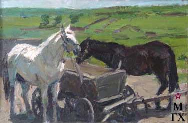 И.П.Рубинский. Лошади отдыхают
