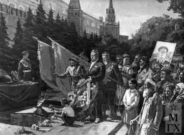 И.П.Рубинский. Узбекская делегация у могилы неизвестного солдата